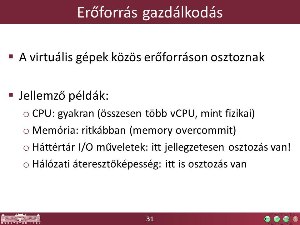 31 Erőforrás gazdálkodás  A virtuális gépek közös erőforráson osztoznak  Jellemző példák: o CPU: gyakran (összesen több vCPU, mint fizikai) o Memória: ritkábban (memory overcommit) o Háttértár I/O műveletek: itt jellegzetesen osztozás van.