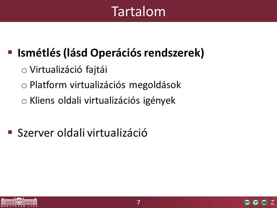 38 Operációs rendszer szintű virtualizáció  Kezdetben volt a chroot… o A fájlrendszer gyökerét átirányíthatjuk egy alkönyvtárra (egy folyamatra vonatkozik!) o Ez nem teljes körű izoláció, de sok esetben működik Kernel minden adatszerkezete közös (folyamatlista, hálózati interfész, IP, routing, sysctl beállítások…) A chrootból ráadásul ki is lehet navigálni a VFS adatszerkezeten keresztül… o Hogy is néz ki: egy teljes alap OS installációt készítünk egy alkönyvtárba, ami kicsit eltérő is lehet az eredetitől o Problémás könyvtárak: /proc, /sys, /dev, /tmp, /var, …