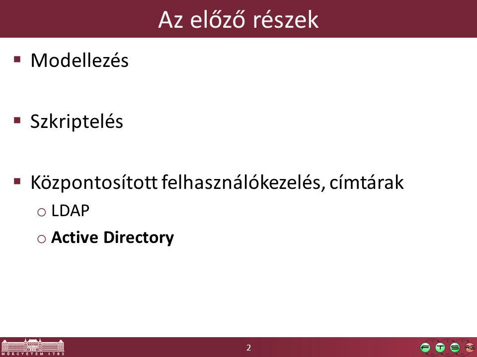 2 Az előző részek  Modellezés  Szkriptelés  Központosított felhasználókezelés, címtárak o LDAP o Active Directory