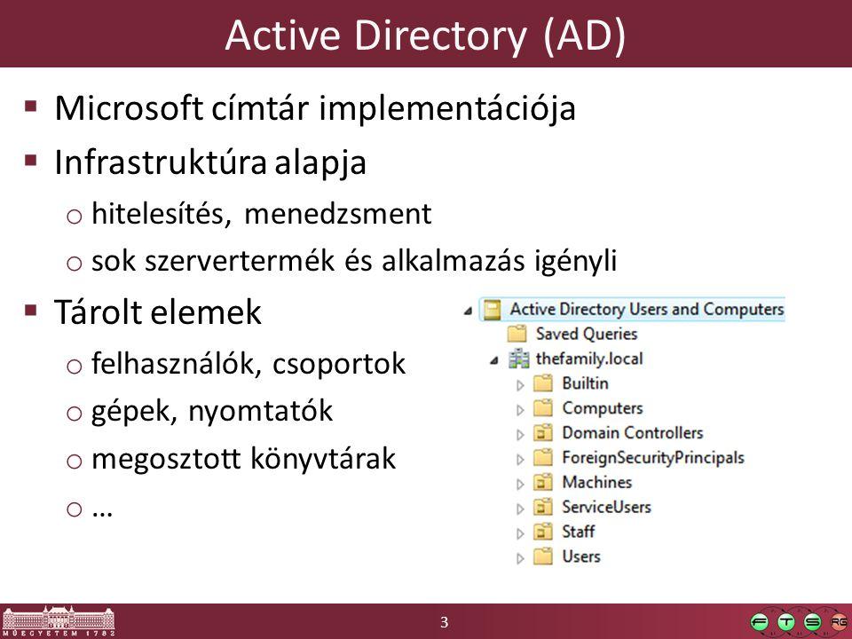 3 Active Directory (AD)  Microsoft címtár implementációja  Infrastruktúra alapja o hitelesítés, menedzsment o sok szervertermék és alkalmazás igényli  Tárolt elemek o felhasználók, csoportok o gépek, nyomtatók o megosztott könyvtárak o…o…