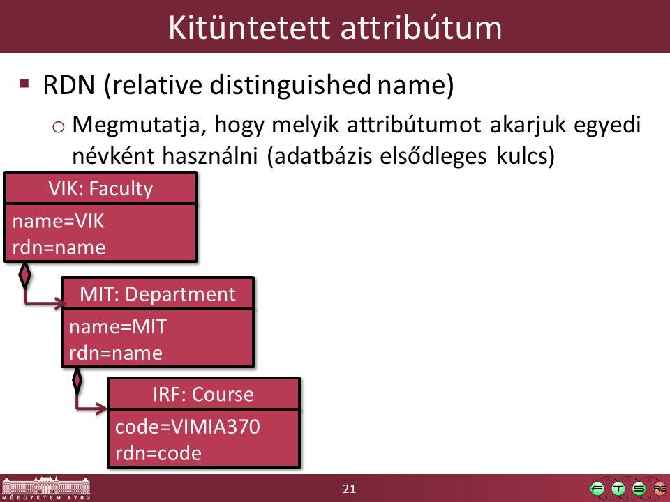 21 Kitüntetett attribútum  RDN (relative distinguished name) o Megmutatja, hogy melyik attribútumot akarjuk egyedi névként használni (adatbázis elsődleges kulcs) VIK: Faculty name=VIK rdn=name name=VIK rdn=name MIT: Department name=MIT rdn=name name=MIT rdn=name IRF: Course code=VIMIA370 rdn=code code=VIMIA370 rdn=code