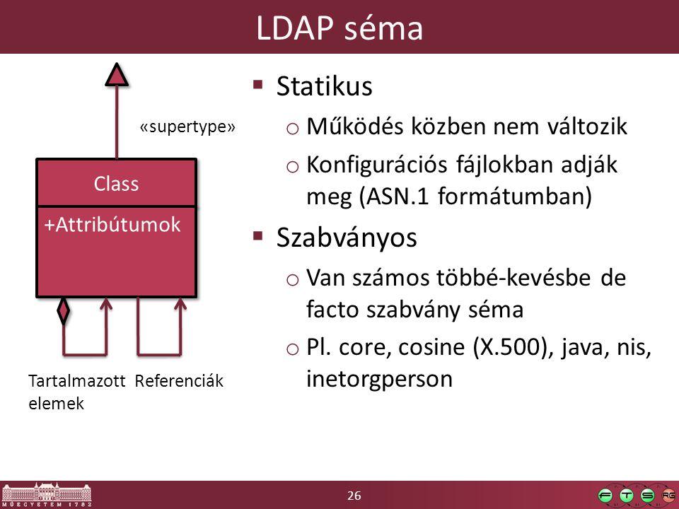 26 LDAP séma Class +Attribútumok  Statikus o Működés közben nem változik o Konfigurációs fájlokban adják meg (ASN.1 formátumban)  Szabványos o Van számos többé-kevésbe de facto szabvány séma o Pl.