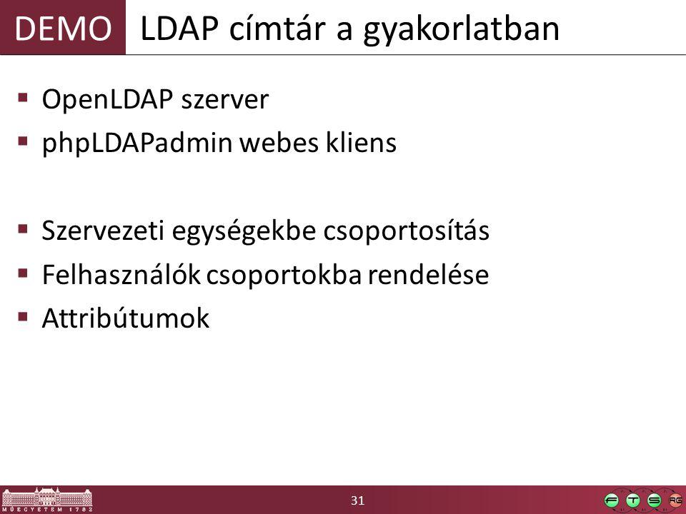 31 DEMO  OpenLDAP szerver  phpLDAPadmin webes kliens  Szervezeti egységekbe csoportosítás  Felhasználók csoportokba rendelése  Attribútumok LDAP címtár a gyakorlatban