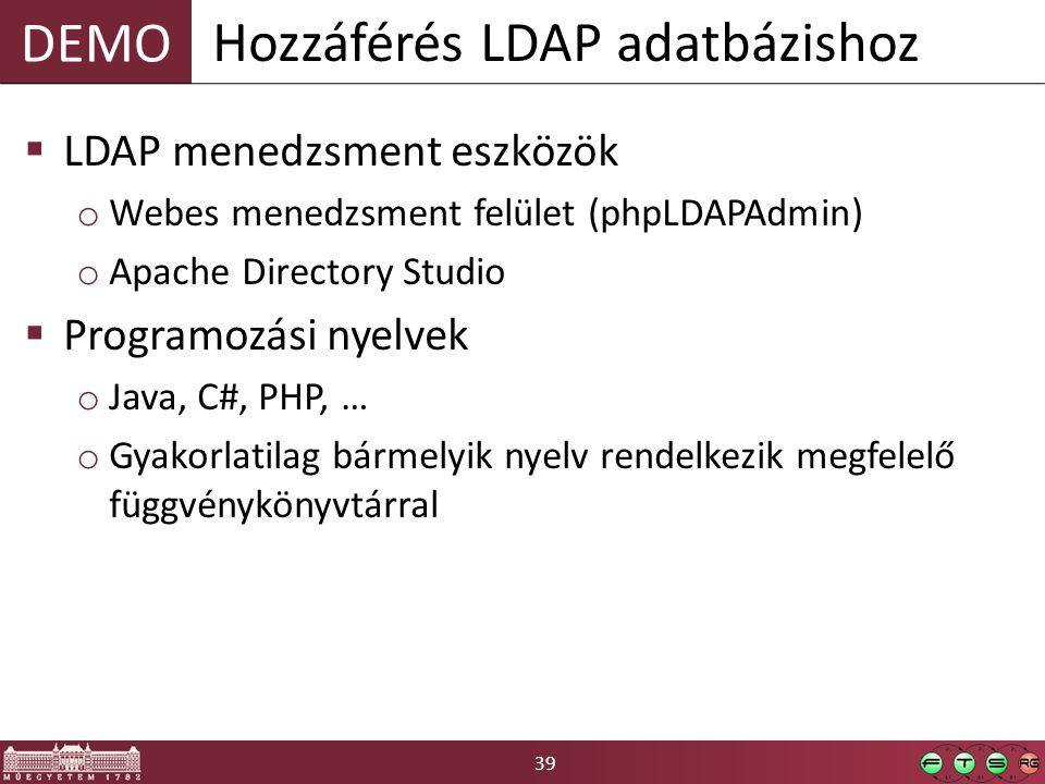 39 DEMO  LDAP menedzsment eszközök o Webes menedzsment felület (phpLDAPAdmin) o Apache Directory Studio  Programozási nyelvek o Java, C#, PHP, … o Gyakorlatilag bármelyik nyelv rendelkezik megfelelő függvénykönyvtárral Hozzáférés LDAP adatbázishoz
