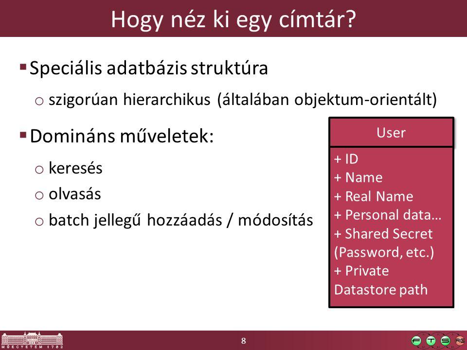 8 Hogy néz ki egy címtár?  Speciális adatbázis struktúra o szigorúan hierarchikus (általában objektum-orientált)  Domináns műveletek: o keresés o ol