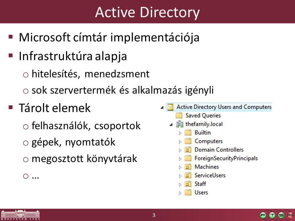 3 Active Directory  Microsoft címtár implementációja  Infrastruktúra alapja o hitelesítés, menedzsment o sok szervertermék és alkalmazás igényli  Tárolt elemek o felhasználók, csoportok o gépek, nyomtatók o megosztott könyvtárak o…o…