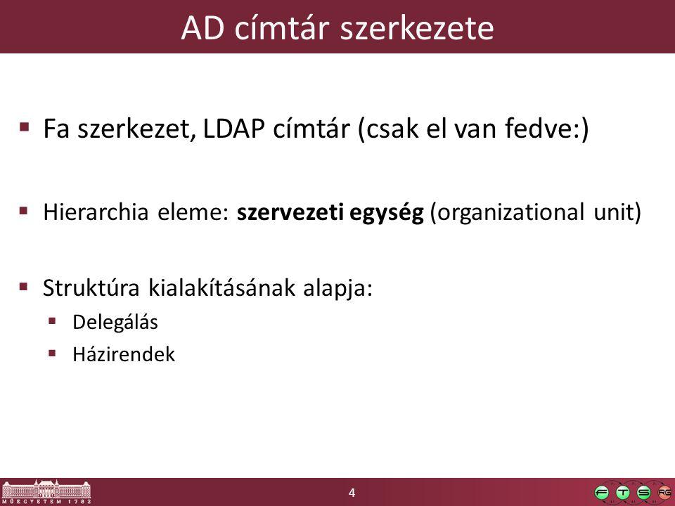 4 AD címtár szerkezete  Fa szerkezet, LDAP címtár (csak el van fedve:)  Hierarchia eleme: szervezeti egység (organizational unit)  Struktúra kialakításának alapja:  Delegálás  Házirendek