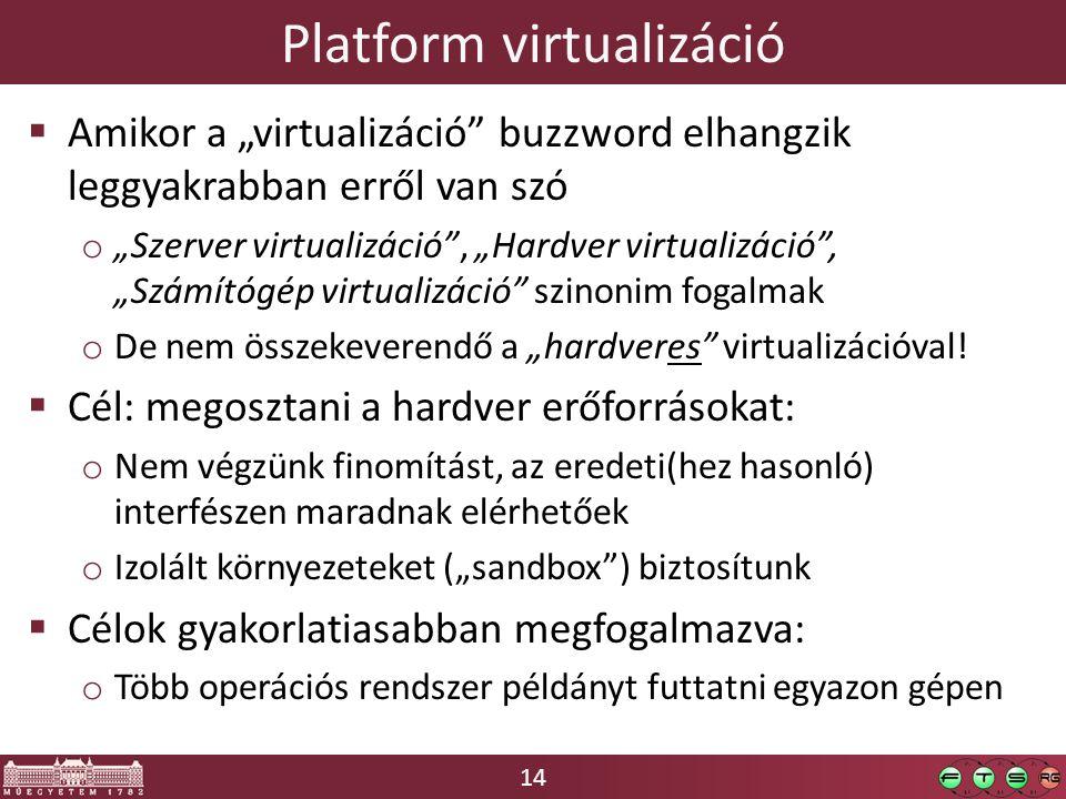 """14 Platform virtualizáció  Amikor a """"virtualizáció"""" buzzword elhangzik leggyakrabban erről van szó o """"Szerver virtualizáció"""", """"Hardver virtualizáció"""""""