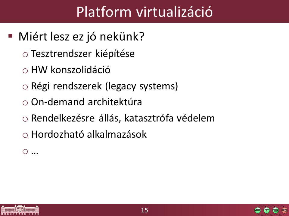 15 Platform virtualizáció  Miért lesz ez jó nekünk? o Tesztrendszer kiépítése o HW konszolidáció o Régi rendszerek (legacy systems) o On-demand archi