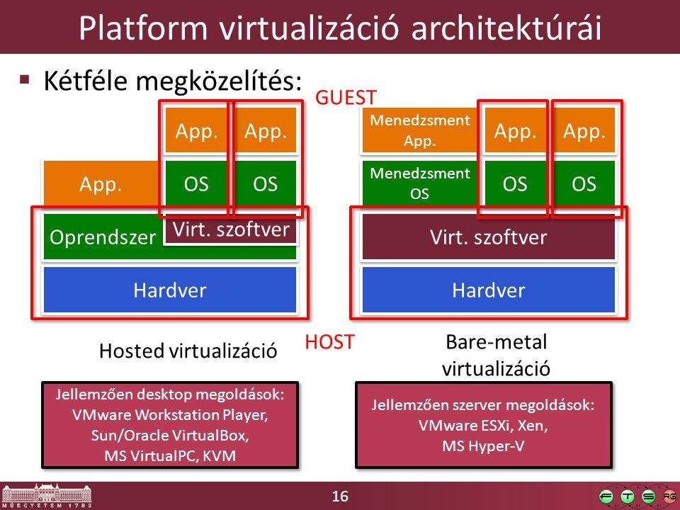16 Platform virtualizáció architektúrái  Kétféle megközelítés: Hardver Oprendszer Virt. szoftver App. OS App. Hardver Virt. szoftver Menedzsment OS M