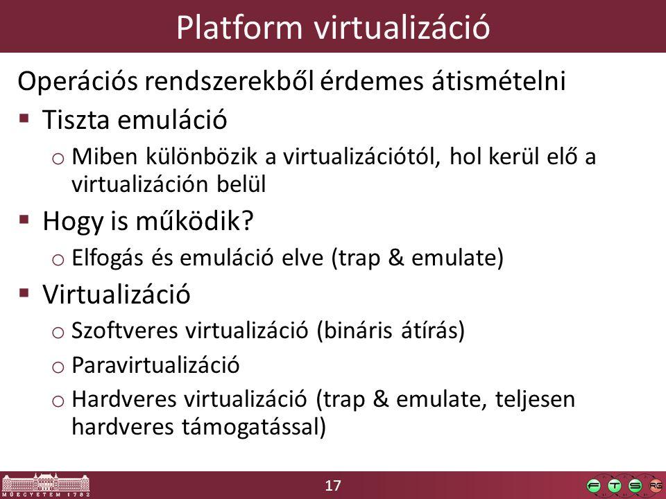 17 Platform virtualizáció Operációs rendszerekből érdemes átismételni  Tiszta emuláció o Miben különbözik a virtualizációtól, hol kerül elő a virtualizáción belül  Hogy is működik.