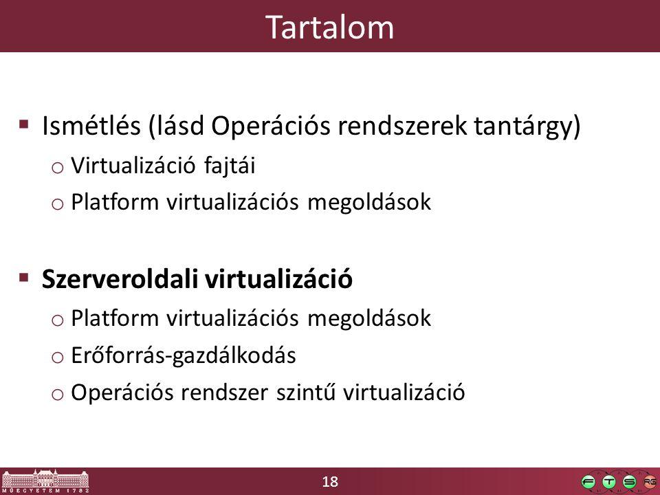 18 Tartalom  Ismétlés (lásd Operációs rendszerek tantárgy) o Virtualizáció fajtái o Platform virtualizációs megoldások  Szerveroldali virtualizáció o Platform virtualizációs megoldások o Erőforrás-gazdálkodás o Operációs rendszer szintű virtualizáció