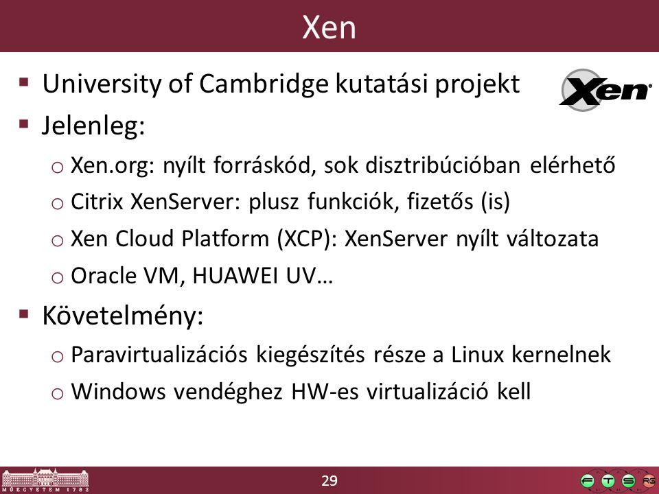 29 Xen  University of Cambridge kutatási projekt  Jelenleg: o Xen.org: nyílt forráskód, sok disztribúcióban elérhető o Citrix XenServer: plusz funkciók, fizetős (is) o Xen Cloud Platform (XCP): XenServer nyílt változata o Oracle VM, HUAWEI UV…  Követelmény: o Paravirtualizációs kiegészítés része a Linux kernelnek o Windows vendéghez HW-es virtualizáció kell