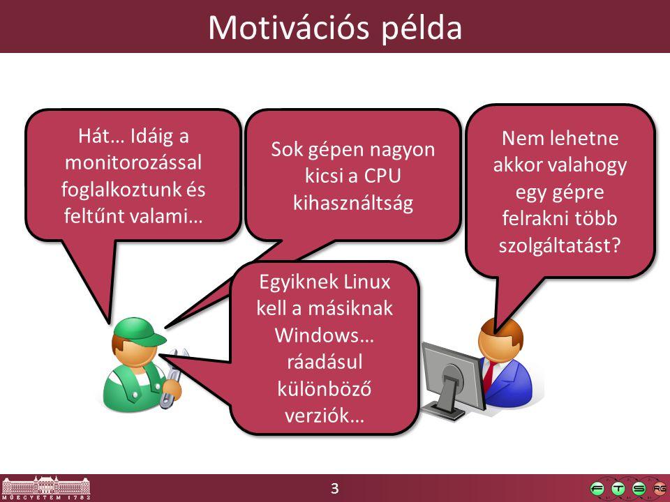 3 Motivációs példa Hát… Idáig a monitorozással foglalkoztunk és feltűnt valami… Sok gépen nagyon kicsi a CPU kihasználtság Nem lehetne akkor valahogy egy gépre felrakni több szolgáltatást.