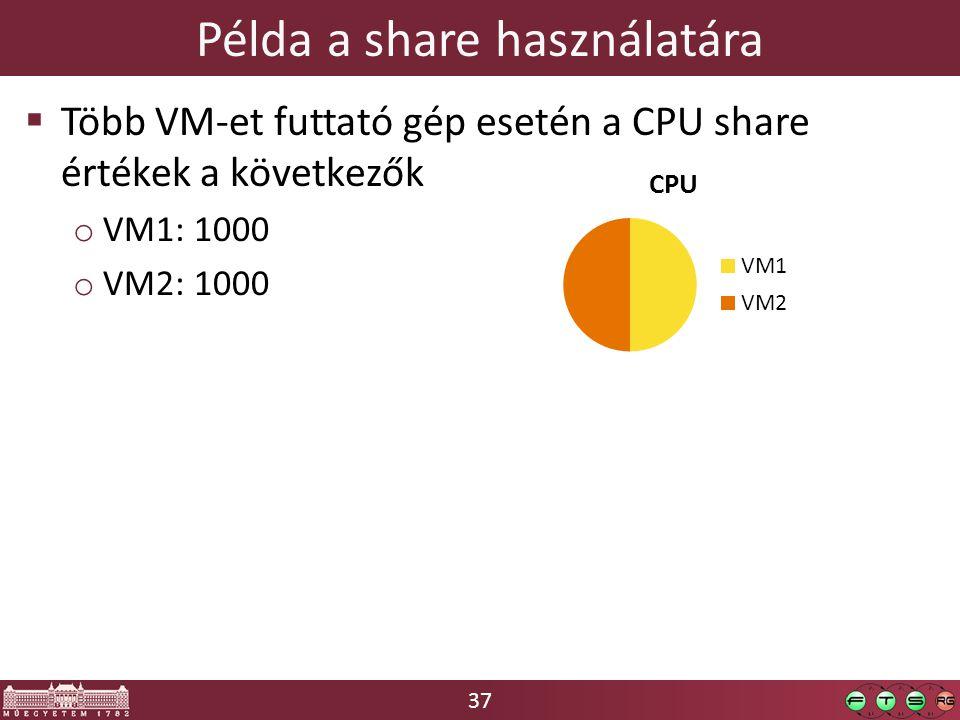 37  Több VM-et futtató gép esetén a CPU share értékek a következők o VM1: 1000 o VM2: 1000 Példa a share használatára