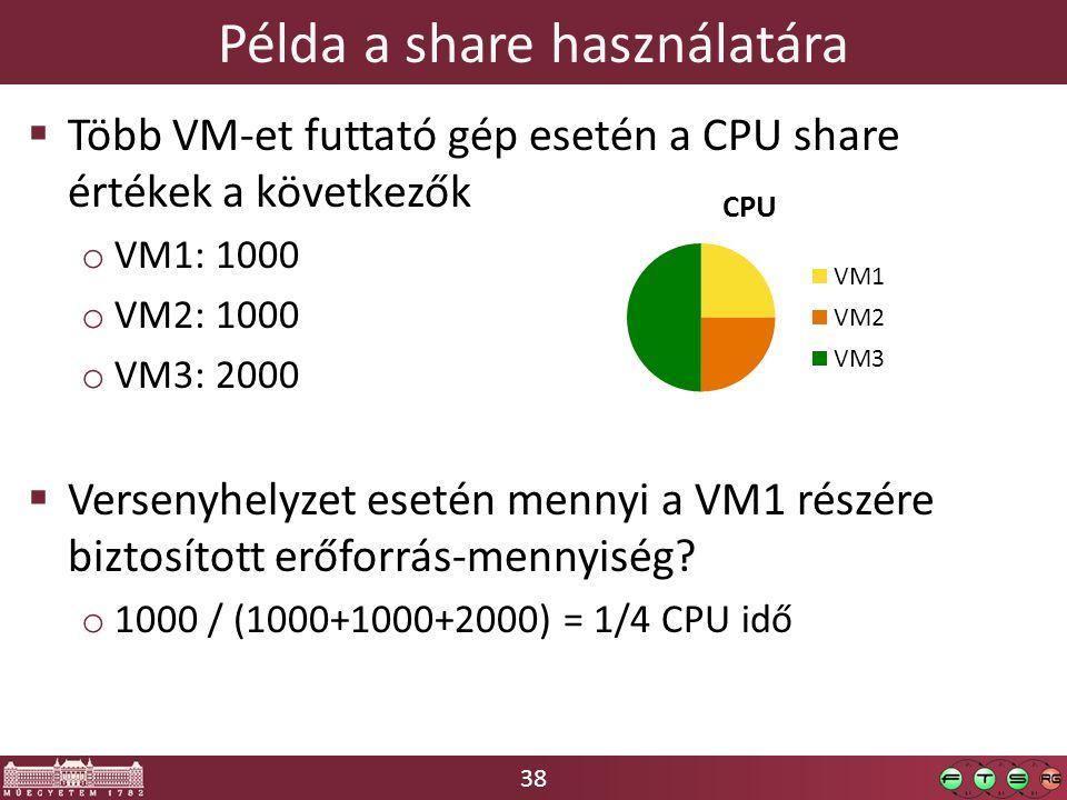 38  Több VM-et futtató gép esetén a CPU share értékek a következők o VM1: 1000 o VM2: 1000 o VM3: 2000  Versenyhelyzet esetén mennyi a VM1 részére biztosított erőforrás-mennyiség.