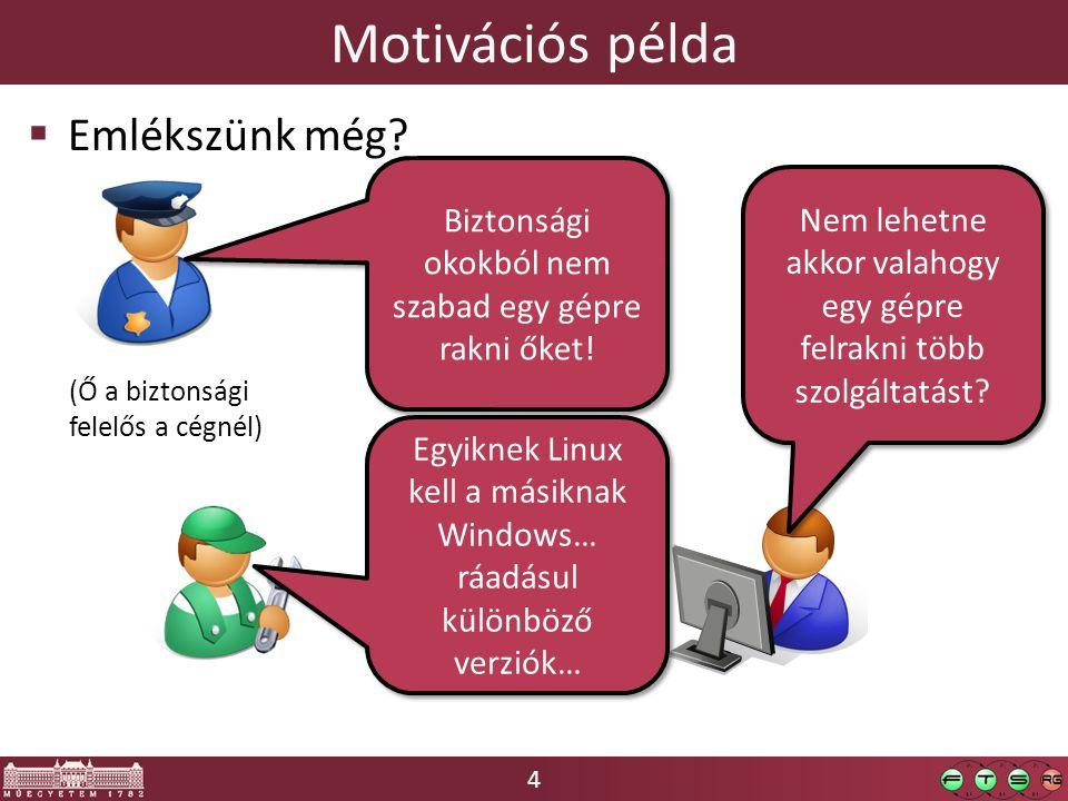 4  Emlékszünk még? Motivációs példa Nem lehetne akkor valahogy egy gépre felrakni több szolgáltatást? Egyiknek Linux kell a másiknak Windows… ráadásu
