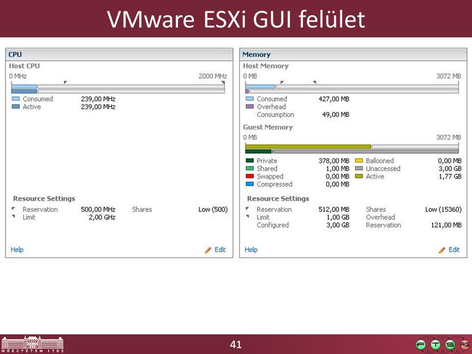 41 VMware ESXi GUI felület