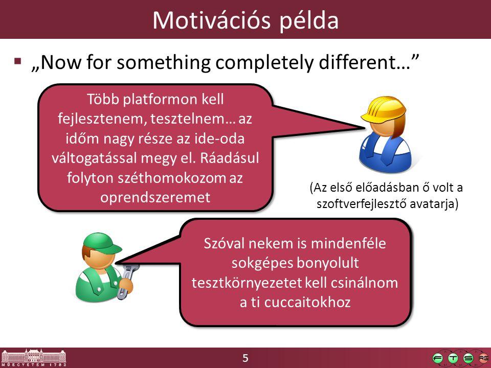 """5 Motivációs példa  """"Now for something completely different…"""" (Az első előadásban ő volt a szoftverfejlesztő avatarja) Több platformon kell fejleszte"""