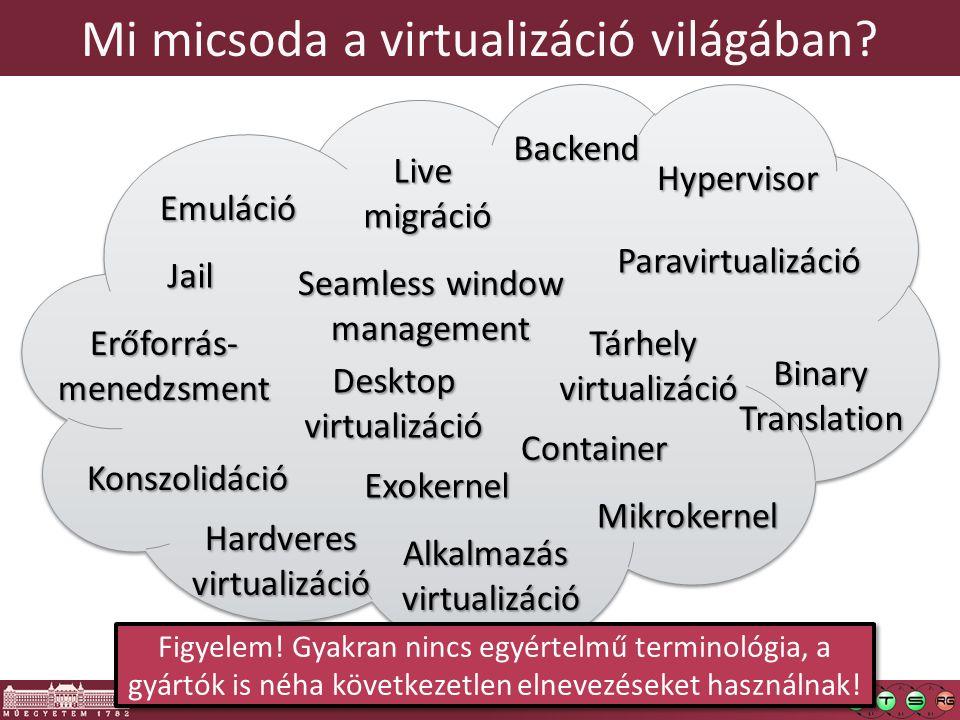 8 Mi micsoda a virtualizáció világában Paravirtualizáció Emuláció Alkalmazás virtualizáció Binary Translation Hypervisor Konszolidáció Mikrokernel Backend Seamless window management Erőforrás-menedzsment Live migráció Hardveresvirtualizáció Exokernel Tárhely virtualizáció Desktop virtualizáció Jail Container Figyelem.
