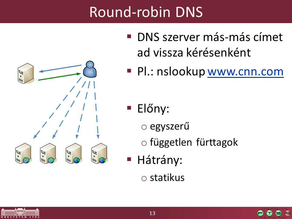 13 Round-robin DNS  DNS szerver más-más címet ad vissza kérésenként  Pl.: nslookup www.cnn.comwww.cnn.com  Előny: o egyszerű o független fürttagok