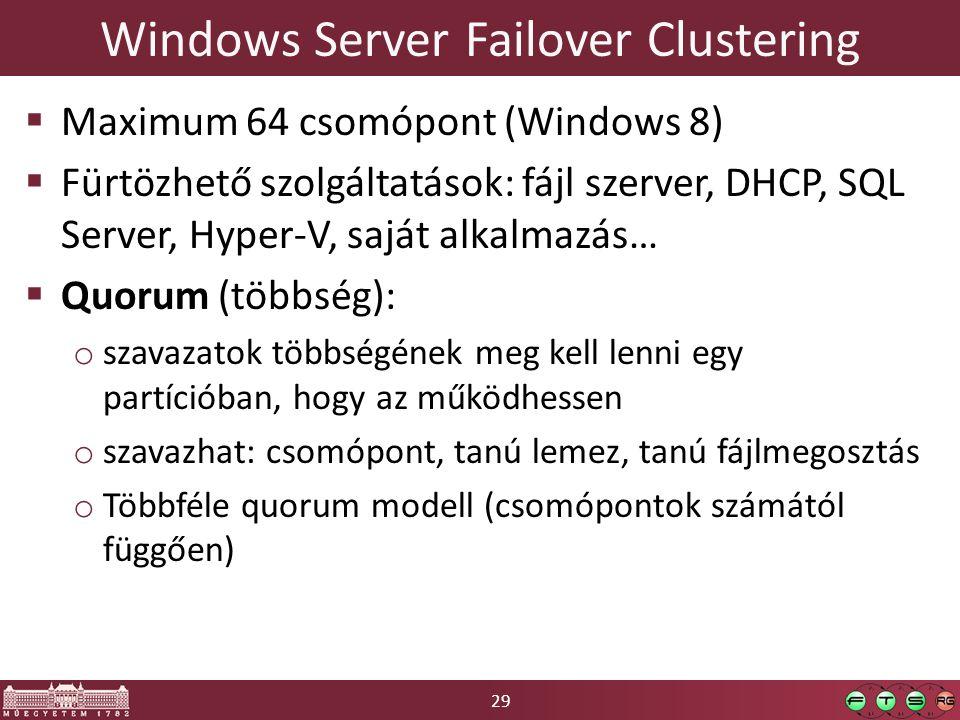 29 Windows Server Failover Clustering  Maximum 64 csomópont (Windows 8)  Fürtözhető szolgáltatások: fájl szerver, DHCP, SQL Server, Hyper-V, saját alkalmazás…  Quorum (többség): o szavazatok többségének meg kell lenni egy partícióban, hogy az működhessen o szavazhat: csomópont, tanú lemez, tanú fájlmegosztás o Többféle quorum modell (csomópontok számától függően)