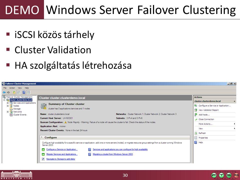 30 DEMO  iSCSI közös tárhely  Cluster Validation  HA szolgáltatás létrehozása Windows Server Failover Clustering