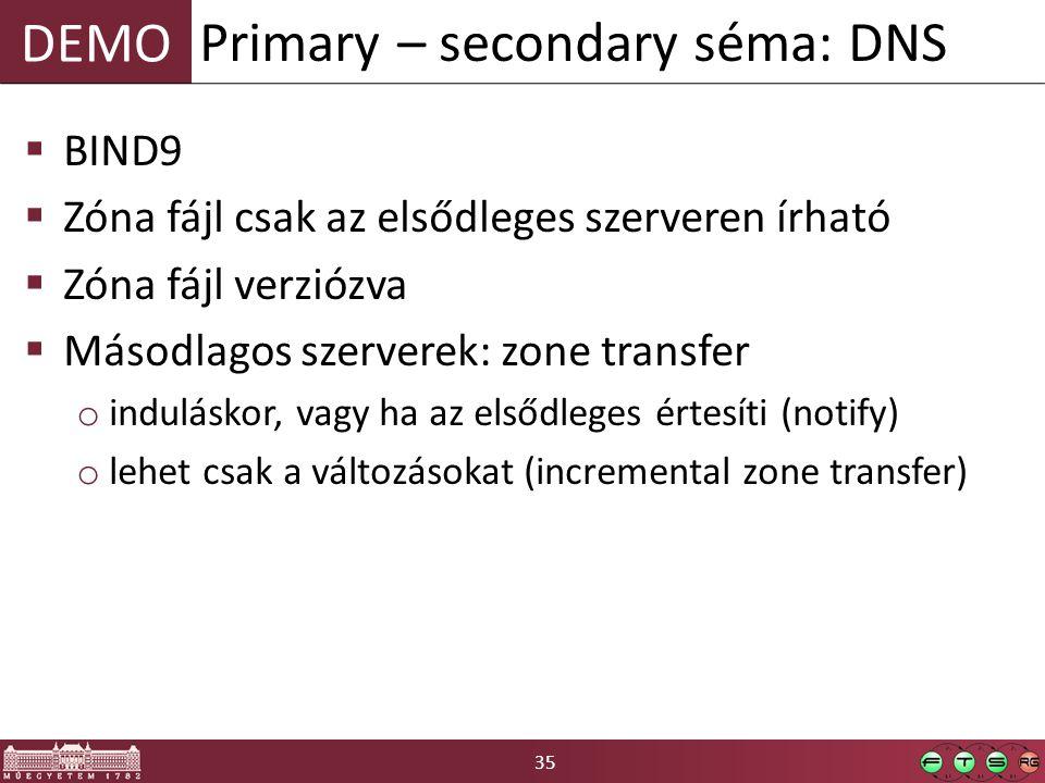 35 DEMO  BIND9  Zóna fájl csak az elsődleges szerveren írható  Zóna fájl verziózva  Másodlagos szerverek: zone transfer o induláskor, vagy ha az elsődleges értesíti (notify) o lehet csak a változásokat (incremental zone transfer) Primary – secondary séma: DNS