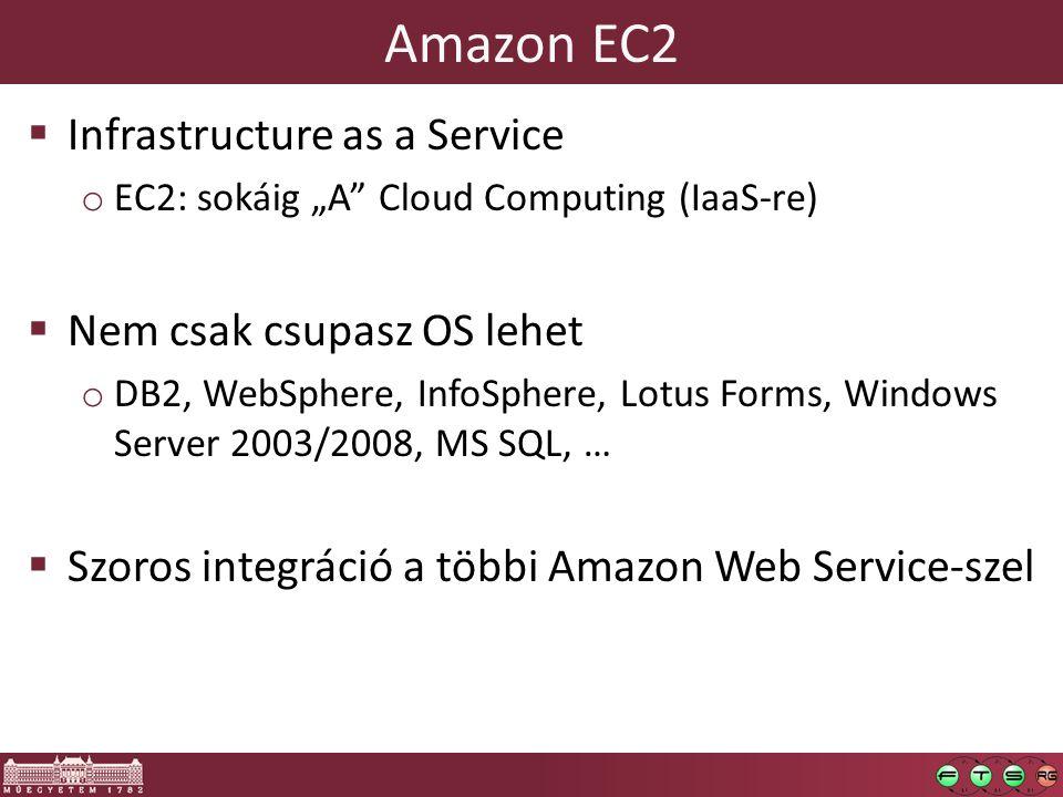 """Amazon EC2  Infrastructure as a Service o EC2: sokáig """"A Cloud Computing (IaaS-re)  Nem csak csupasz OS lehet o DB2, WebSphere, InfoSphere, Lotus Forms, Windows Server 2003/2008, MS SQL, …  Szoros integráció a többi Amazon Web Service-szel"""