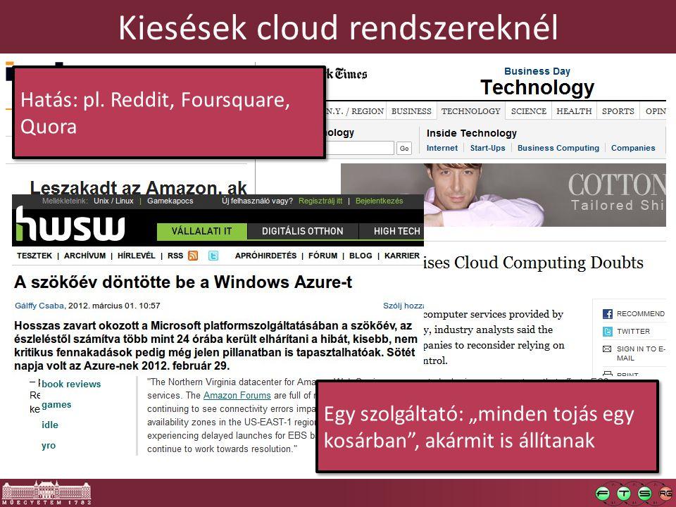 Kiesések cloud rendszereknél Hatás: pl.