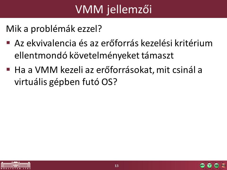 VMM jellemzői Mik a problémák ezzel.