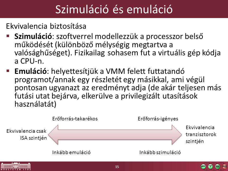 Szimuláció és emuláció Ekvivalencia biztosítása  Szimuláció: szoftverrel modellezzük a processzor belső működését (különböző mélységig megtartva a valósághűséget).