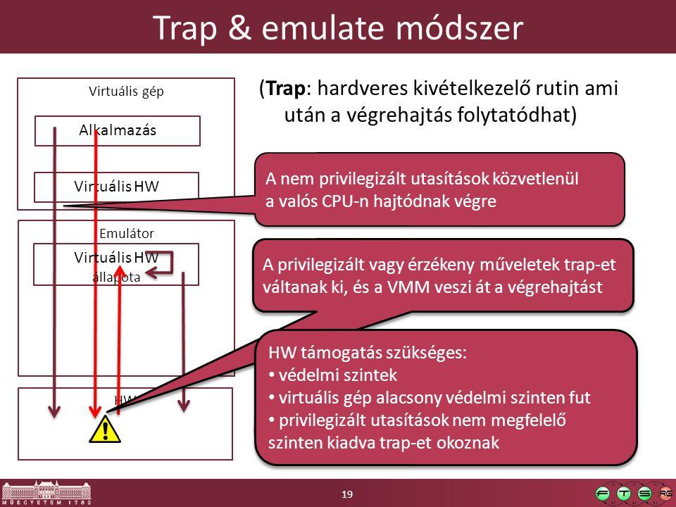 Trap & emulate módszer (Trap: hardveres kivételkezelő rutin ami után a végrehajtás folytatódhat) HW Emulátor Virtuális gép Virtuális HW Alkalmazás Virtuális HW állapota A nem privilegizált utasítások közvetlenül a valós CPU-n hajtódnak végre A nem privilegizált utasítások közvetlenül a valós CPU-n hajtódnak végre A privilegizált vagy érzékeny műveletek trap-et váltanak ki, és a VMM veszi át a végrehajtást A privilegizált vagy érzékeny műveletek trap-et váltanak ki, és a VMM veszi át a végrehajtást HW támogatás szükséges: védelmi szintek virtuális gép alacsony védelmi szinten fut privilegizált utasítások nem megfelelő szinten kiadva trap-et okoznak HW támogatás szükséges: védelmi szintek virtuális gép alacsony védelmi szinten fut privilegizált utasítások nem megfelelő szinten kiadva trap-et okoznak 19