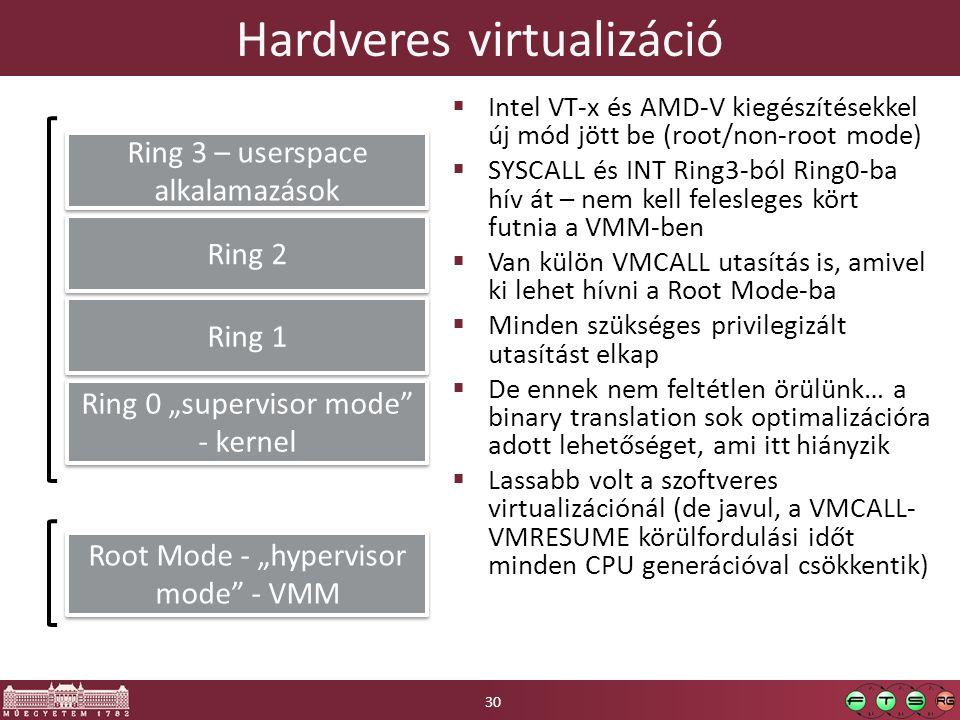 """Hardveres virtualizáció  Intel VT-x és AMD-V kiegészítésekkel új mód jött be (root/non-root mode)  SYSCALL és INT Ring3-ból Ring0-ba hív át – nem kell felesleges kört futnia a VMM-ben  Van külön VMCALL utasítás is, amivel ki lehet hívni a Root Mode-ba  Minden szükséges privilegizált utasítást elkap  De ennek nem feltétlen örülünk… a binary translation sok optimalizációra adott lehetőséget, ami itt hiányzik  Lassabb volt a szoftveres virtualizációnál (de javul, a VMCALL- VMRESUME körülfordulási időt minden CPU generációval csökkentik) Ring 0 """"supervisor mode - kernel Ring 1 Ring 2 Ring 3 – userspace alkalamazások Root Mode - """"hypervisor mode - VMM 30"""