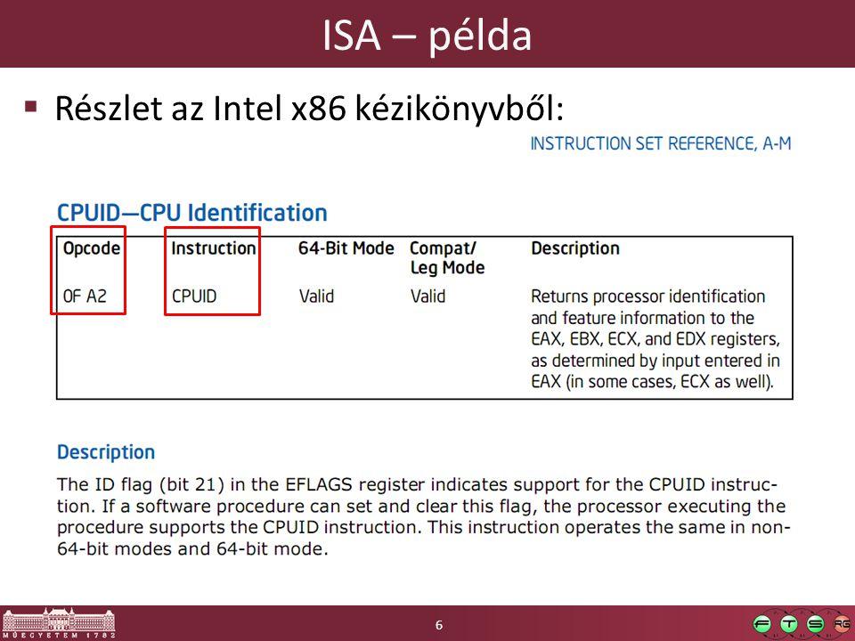 ISA – példa  Részlet az Intel x86 kézikönyvből: 6