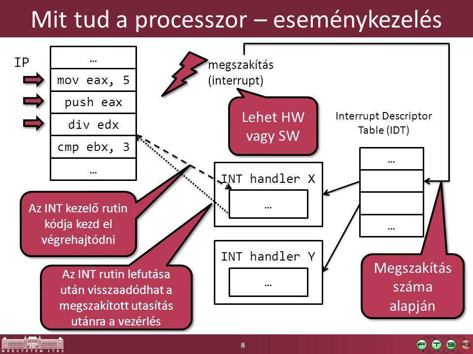 Mit tud a processzor – eseménykezelés 8 mov eax, 5 push eax div edx cmp ebx, 3 IP … … megszakítás (interrupt) … … Interrupt Descriptor Table (IDT) INT handler X … INT handler Y … Megszakítás száma alapján Az INT rutin lefutása után visszaadódhat a megszakított utasítás utánra a vezérlés Lehet HW vagy SW Az INT kezelő rutin kódja kezd el végrehajtódni