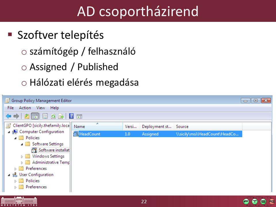 22 AD csoportházirend  Szoftver telepítés o számítógép / felhasználó o Assigned / Published o Hálózati elérés megadása