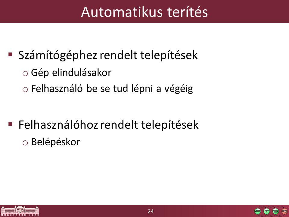 24 Automatikus terítés  Számítógéphez rendelt telepítések o Gép elindulásakor o Felhasználó be se tud lépni a végéig  Felhasználóhoz rendelt telepítések o Belépéskor