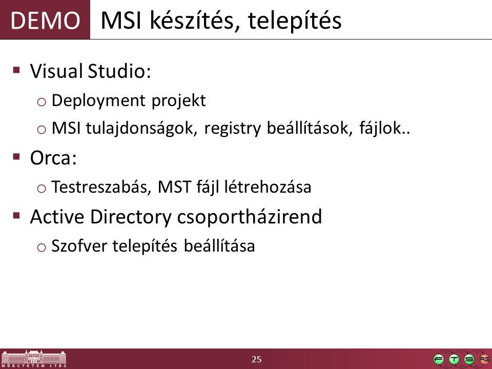 25 DEMO  Visual Studio: o Deployment projekt o MSI tulajdonságok, registry beállítások, fájlok..