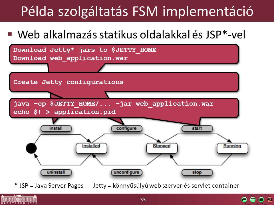 33 Példa szolgáltatás FSM implementáció  Web alkalmazás statikus oldalakkal és JSP*-vel * JSP = Java Server Pages Jetty = könnyűsúlyú web szerver és servlet container Download Jetty* jars to $JETTY_HOME Download web_application.war Download Jetty* jars to $JETTY_HOME Download web_application.war Create Jetty configurations java –cp $JETTY_HOME/...
