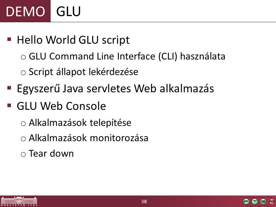 38 DEMO  Hello World GLU script o GLU Command Line Interface (CLI) használata o Script állapot lekérdezése  Egyszerű Java servletes Web alkalmazás  GLU Web Console o Alkalmazások telepítése o Alkalmazások monitorozása o Tear down GLU