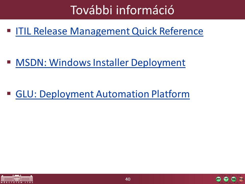 40 További információ  ITIL Release Management Quick Reference ITIL Release Management Quick Reference  MSDN: Windows Installer Deployment MSDN: Windows Installer Deployment  GLU: Deployment Automation Platform GLU: Deployment Automation Platform