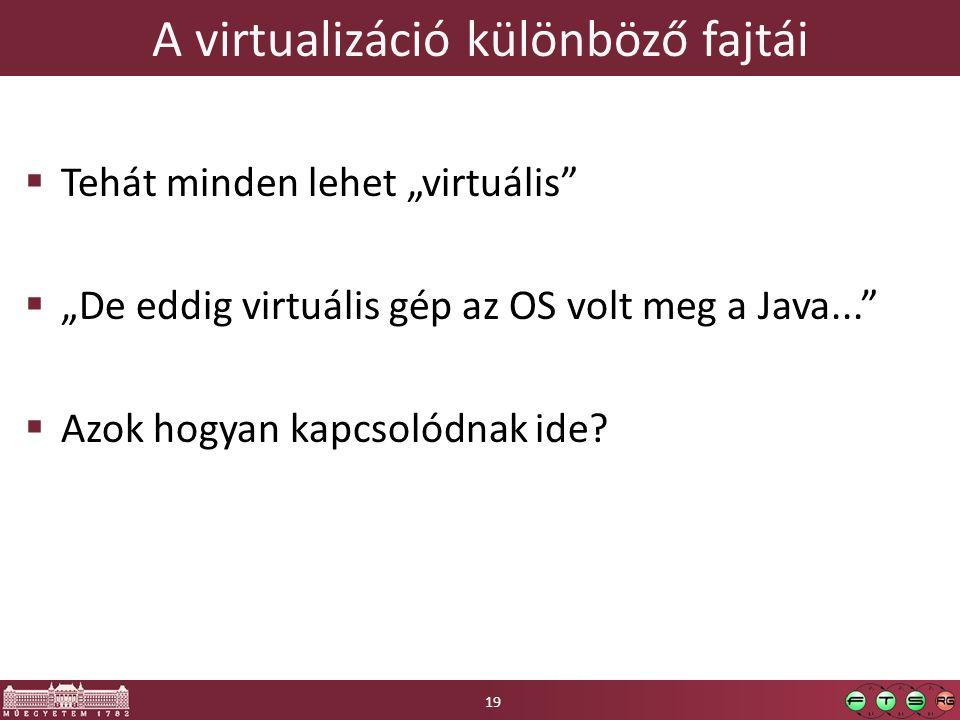 """A virtualizáció különböző fajtái  Tehát minden lehet """"virtuális""""  """"De eddig virtuális gép az OS volt meg a Java...""""  Azok hogyan kapcsolódnak ide?"""