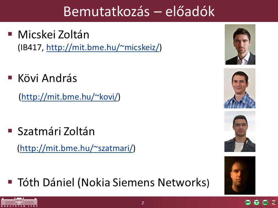 Bemutatkozás – előadók  Micskei Zoltán (IB417, http://mit.bme.hu/~micskeiz/)http://mit.bme.hu/~micskeiz/  Kövi András (http://mit.bme.hu/~kovi/)http