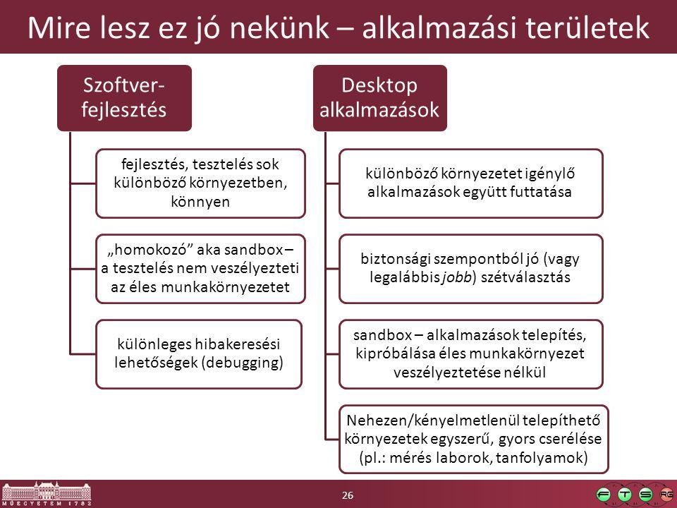 """Mire lesz ez jó nekünk – alkalmazási területek Szoftver- fejlesztés fejlesztés, tesztelés sok különböző környezetben, könnyen """"homokozó"""" aka sandbox –"""