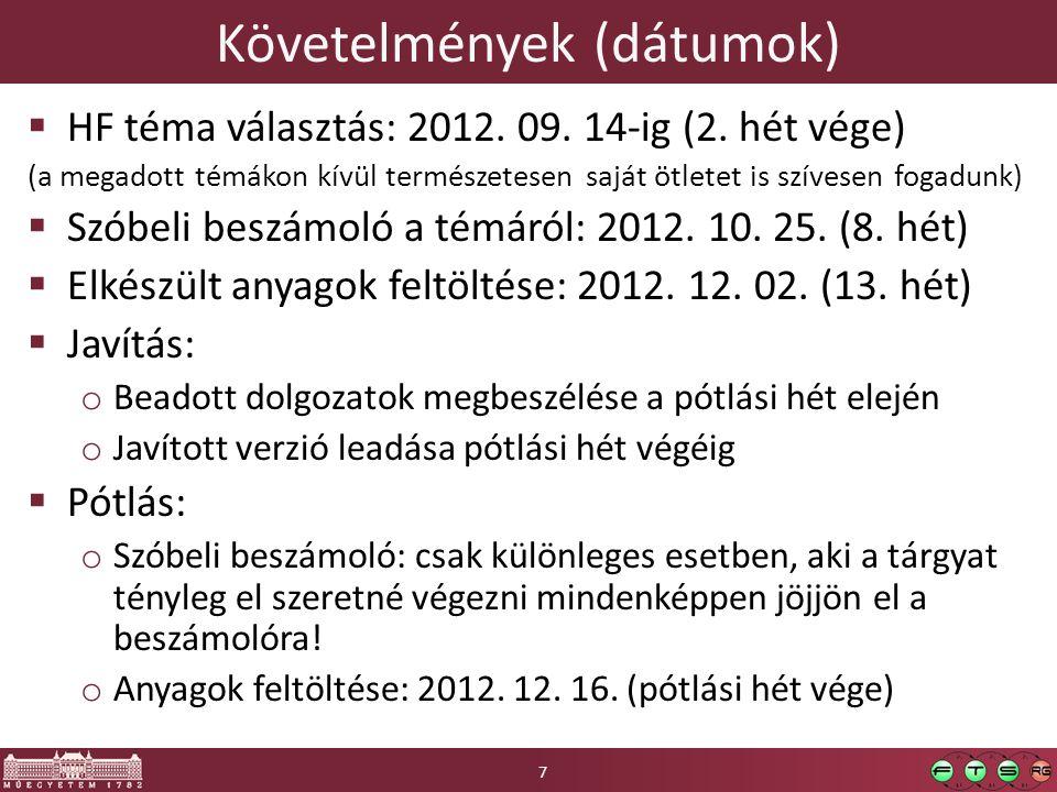 Követelmények (dátumok)  HF téma választás: 2012. 09. 14-ig (2. hét vége) (a megadott témákon kívül természetesen saját ötletet is szívesen fogadunk)