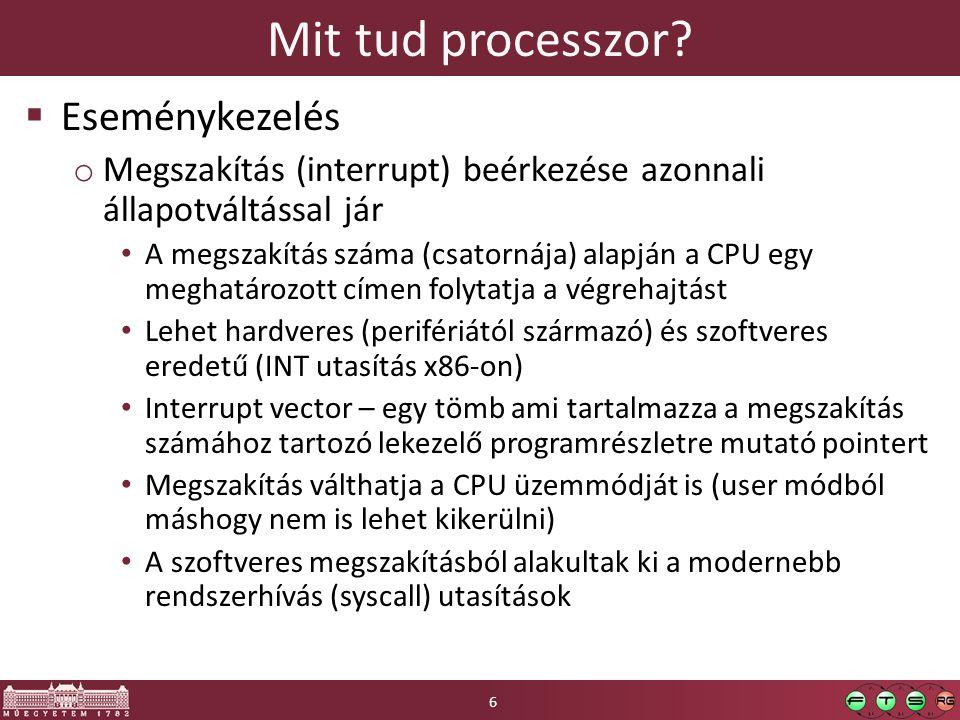 Elfogás és emuláció elve Trap: hardveres kivételkezelő rutin ami után a végrehajtás folytatódhat HW Emulátor Virtuális gép Virtuális HW Alkalmazás Virtuális HW állapota A nem privilegizált utasítások közvetlenül a valós CPU-n hajtódnak végre A nem privilegizált utasítások közvetlenül a valós CPU-n hajtódnak végre A privilegizált vagy érzékeny műveletek trap-et váltanak ki, és a VMM veszi át a végrehajtást A privilegizált vagy érzékeny műveletek trap-et váltanak ki, és a VMM veszi át a végrehajtást HW támogatás: védelmi szintek (az x86-on Ring0-3) virtuális gép alacsony védelmi szinten fut privilegizált utasítások nem megfelelő szinten kiadva trap-et okoznak HW támogatás: védelmi szintek (az x86-on Ring0-3) virtuális gép alacsony védelmi szinten fut privilegizált utasítások nem megfelelő szinten kiadva trap-et okoznak 17