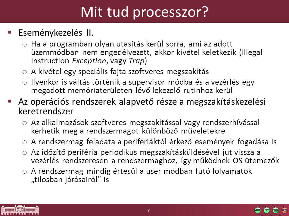 Mit tud processzor.  Eseménykezelés II.