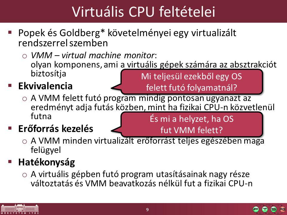 Virtuális CPU feltételei  Popek és Goldberg* követelményei egy virtualizált rendszerrel szemben o VMM – virtual machine monitor: olyan komponens, ami a virtuális gépek számára az absztrakciót biztosítja  Ekvivalencia o A VMM felett futó program mindig pontosan ugyanazt az eredményt adja futás közben, mint ha fizikai CPU-n közvetlenül futna  Erőforrás kezelés o A VMM minden virtualizált erőforrást teljes egészében maga felügyel  Hatékonyság o A virtuális gépben futó program utasításainak nagy része változtatás és VMM beavatkozás nélkül fut a fizikai CPU-n Mi teljesül ezekből egy OS felett futó folyamatnál.