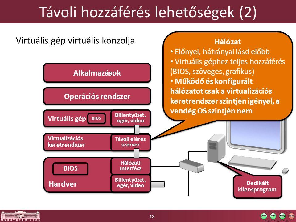 Hardver Távoli hozzáférés lehetőségek (2) Operációs rendszer Alkalmazások Billentyűzet, egér, video Billentyűzet, egér, video Virtuális gép virtuális